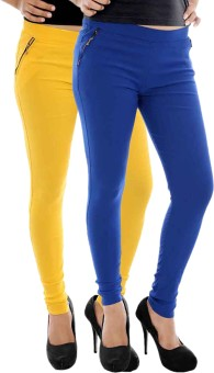 Paulzi Women's Yellow, Blue Jeggings Pack Of 2