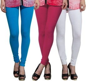 Both11 Women's Light Blue, Pink, White Leggings Pack Of 3