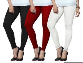 Lux Lyra Women's Black, Red, White Leggings Pack Of 3
