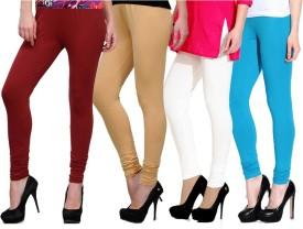 Ngt Women's Maroon, Beige, Light Blue, White Leggings Pack Of 4