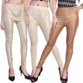 Comix Women's Beige, Gold, White, Gold, Brown, Gold Leggings Pack Of 3