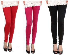 Raro Women's Red, Pink, Black Leggings Pack Of 3