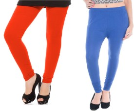 Colors More Women's Orange, Blue Leggings Pack Of 2