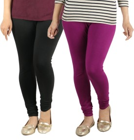 Radha's Women's Black, Purple Leggings Pack Of 2