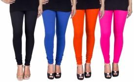 C&s Shopping Gallery Women's Black, Blue, Orange, Pink Leggings Pack Of 4