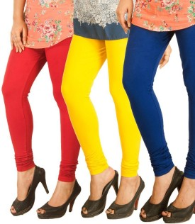 Green Moments Women's Blue, Red, Yellow Leggings Pack Of 3