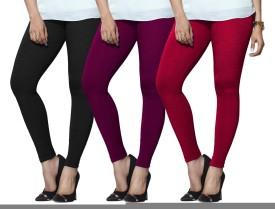 Lux Lyra Women's Black, Purple, Pink Leggings Pack Of 3
