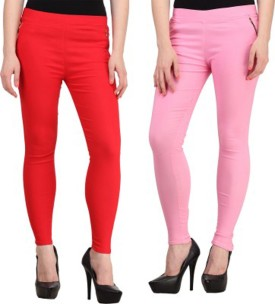 Roma Creation Girl's Red, Pink Jeggings Pack Of 2