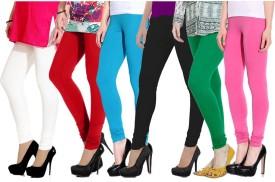 Ngt Women's White, Red, Light Blue, Black, Green, Pink Leggings Pack Of 6