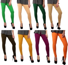 Sparkle Women's Green, Beige, Dark Green, Beige, Green, Yellow, Purple, Orange Leggings Pack Of 8