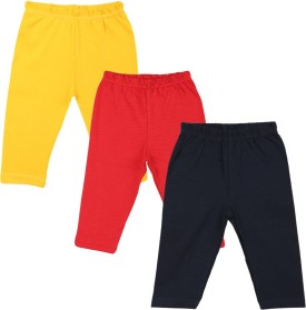 Color Fly Baby Girl's Dark Blue, Red, Yellow Leggings Pack Of 3