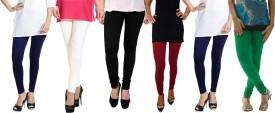 Escocer Women's Blue, White, Black, Maroon, Green Leggings Pack Of 6