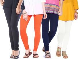 Amoya Women's Black, White, Orange, Dark Blue Leggings Pack Of 4