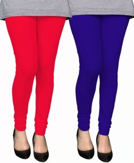 PAMO Women's Red, Blue Leggings Pack Of 2