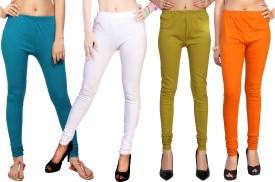 Comix Women's Dark Blue, White, Green, Orange Leggings Pack Of 4