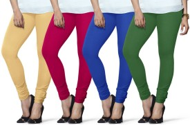 Lux Lyra Women's Beige, Pink, Light Blue, Dark Green Leggings Pack Of 4