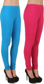 Stylishbae Women's Blue, Pink Leggings Pack Of 2