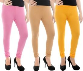 Paulzi Women's Pink, Beige, Yellow Leggings Pack Of 3