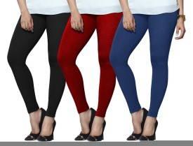 Lux Lyra Women's Black, Red, Light Blue Leggings Pack Of 3