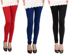 Raro Women's Red, Blue, Black Leggings Pack Of 3