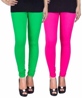 Fashion Flow+ Women's Green, Pink Leggings Pack Of 2