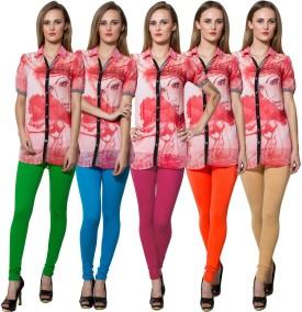 Both11 Women's Green, Light Blue, Pink, Orange Leggings Pack Of 5