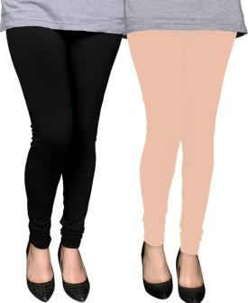 PAMO Women's Black, Gold Leggings Pack Of 2