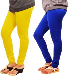 Leggings World Women's Yellow, Blue Leggings Pack Of 2