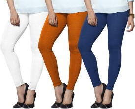 Lux Lyra Women's White, Orange, Light Blue Leggings Pack Of 3