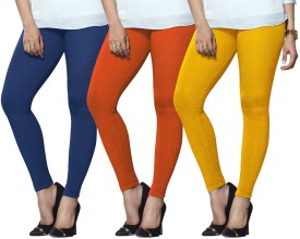 Lux Lyra Women's Light Blue, Orange, Yellow Leggings Pack Of 3