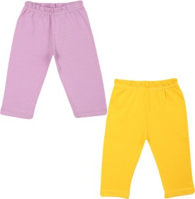 Color Fly Baby Girl's Purple, Yellow Leggings Pack Of 2