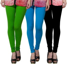Both11 Women's Green, Light Blue, Black Leggings Pack Of 3