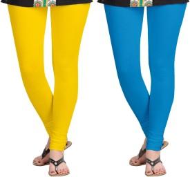 Aannie Women's Yellow, Blue Leggings Pack Of 2