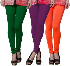 Both11 Women's Dark Green, Purple, Orange Leggings Pack Of 3