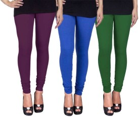 Fashion Flow+ Women's Purple, Blue, Dark Green Leggings Pack Of 3