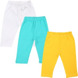 Color Fly Baby Girl's Green, White, Yellow Leggings Pack Of 3