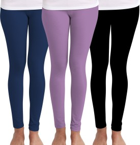 Huetrap Women's Blue, Purple, Black Leggings Pack Of 3
