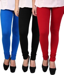 Comfort Women's Black, Red, Blue Leggings Pack Of 3