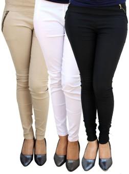 MAGRACE Women's, Girl's Beige, Black, White Jeggings Pack Of 3