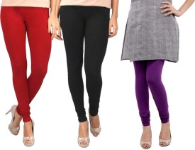 Sampoorna Collection Women's Black, Red, Purple Leggings Pack Of 3