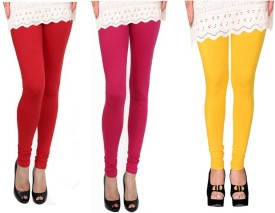 Raro Women's Red, Pink, Yellow Leggings Pack Of 3