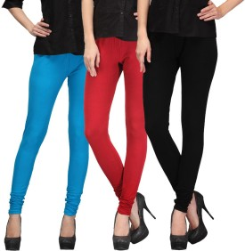 E'Hiose Women's Blue, Red, Black Leggings Pack Of 3