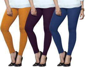 Lux Lyra Women's Yellow, Purple, Light Blue Leggings Pack Of 3