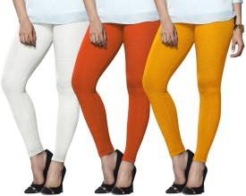 Lux Lyra Women's White, Orange, Yellow Leggings Pack Of 3