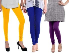 Sampoorna Collection Women's Blue, Yellow, Purple Leggings Pack Of 3