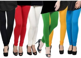 Fashion Zilla Women's Black, Red, White, Light Green, Yellow, Light Blue Leggings Pack Of 6