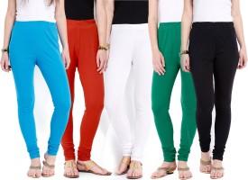 Ten On Ten Women's Blue, Orange, White, Green, Black Leggings Pack Of 5