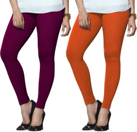 Lux Lyra Women's Purple, Orange Leggings Pack Of 2