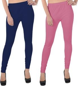 X-Cross Women's Dark Blue, Pink Leggings Pack Of 2