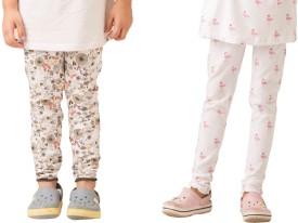 Bluebuck Girl's Beige, White Leggings